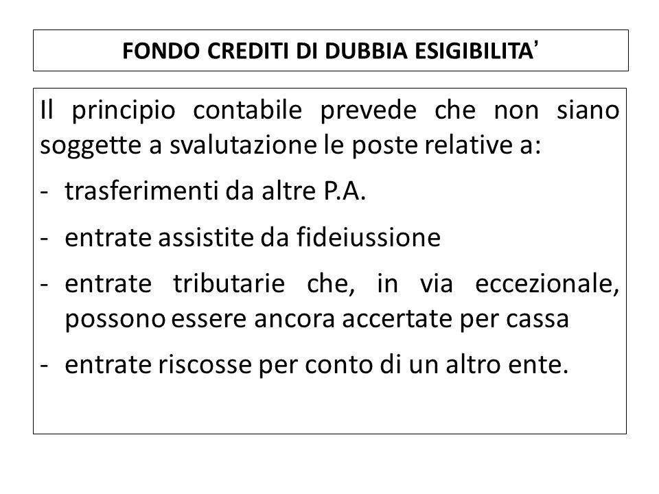 Il principio contabile prevede che non siano soggette a svalutazione le poste relative a: -trasferimenti da altre P.A. -entrate assistite da fideiussi