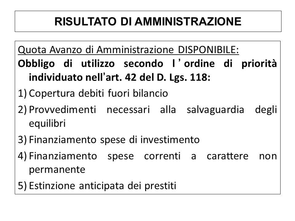 Quota Avanzo di Amministrazione DISPONIBILE: Obbligo di utilizzo secondo l'ordine di priorità individuato nell'art. 42 del D. Lgs. 118: 1)Copertura de