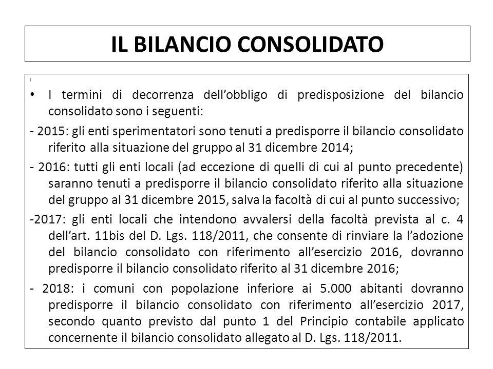 I I termini di decorrenza dell'obbligo di predisposizione del bilancio consolidato sono i seguenti: - 2015: gli enti sperimentatori sono tenuti a pred