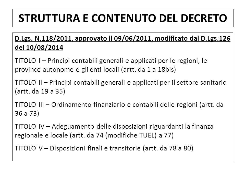 D.Lgs. N.118/2011, approvato il 09/06/2011, modificato dal D.Lgs.126 del 10/08/2014 TITOLO I – Principi contabili generali e applicati per le regioni,
