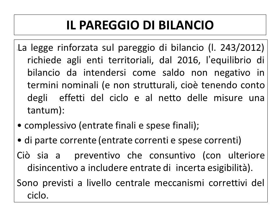 I La legge rinforzata sul pareggio di bilancio (l. 243/2012) richiede agli enti territoriali, dal 2016, l'equilibrio di bilancio da intendersi come sa