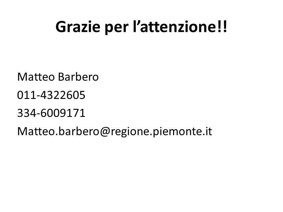 Grazie per l'attenzione!! Matteo Barbero 011-4322605 334-6009171 Matteo.barbero@regione.piemonte.it