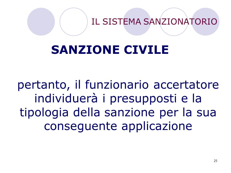 25 SANZIONE CIVILE pertanto, il funzionario accertatore individuerà i presupposti e la tipologia della sanzione per la sua conseguente applicazione IL