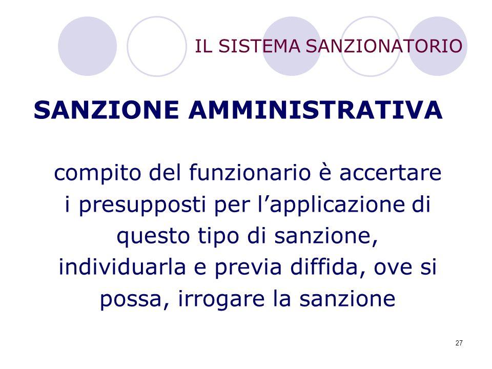 27 IL SISTEMA SANZIONATORIO SANZIONE AMMINISTRATIVA compito del funzionario è accertare i presupposti per l'applicazione di questo tipo di sanzione, i