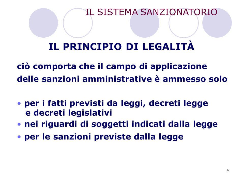 37 IL SISTEMA SANZIONATORIO ciò comporta che il campo di applicazione delle sanzioni amministrative è ammesso solo per i fatti previsti da leggi, decr
