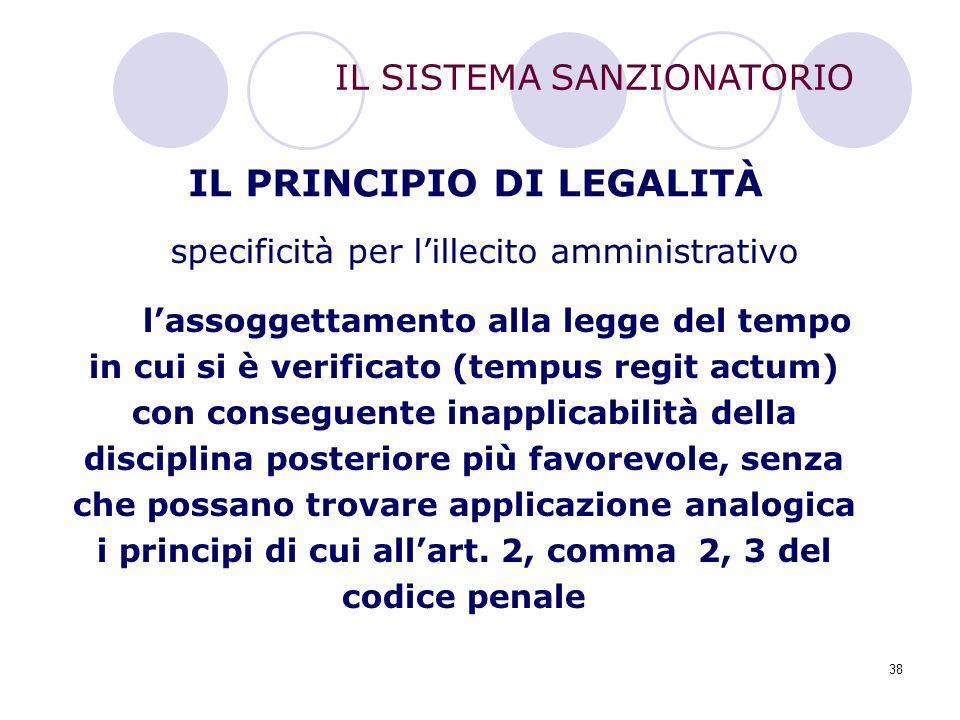 38 IL PRINCIPIO DI LEGALITÀ l'assoggettamento alla legge del tempo in cui si è verificato (tempus regit actum) con conseguente inapplicabilità della d