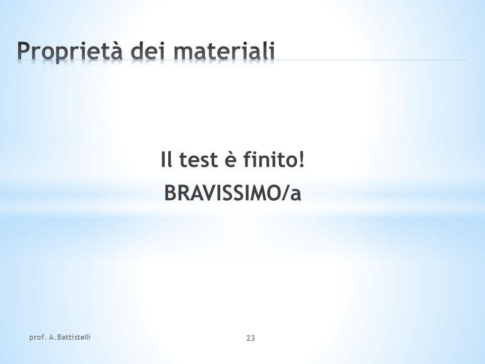 Il test è finito! BRAVISSIMO/a prof. A.Battistelli 23
