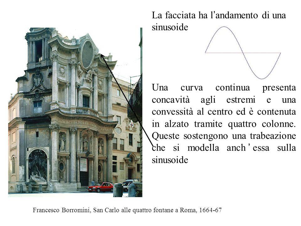 Francesco Borromini, San Carlo alle quattro fontane a Roma, 1664-67 La facciata ha l ' andamento di una sinusoide Una curva continua presenta concavit