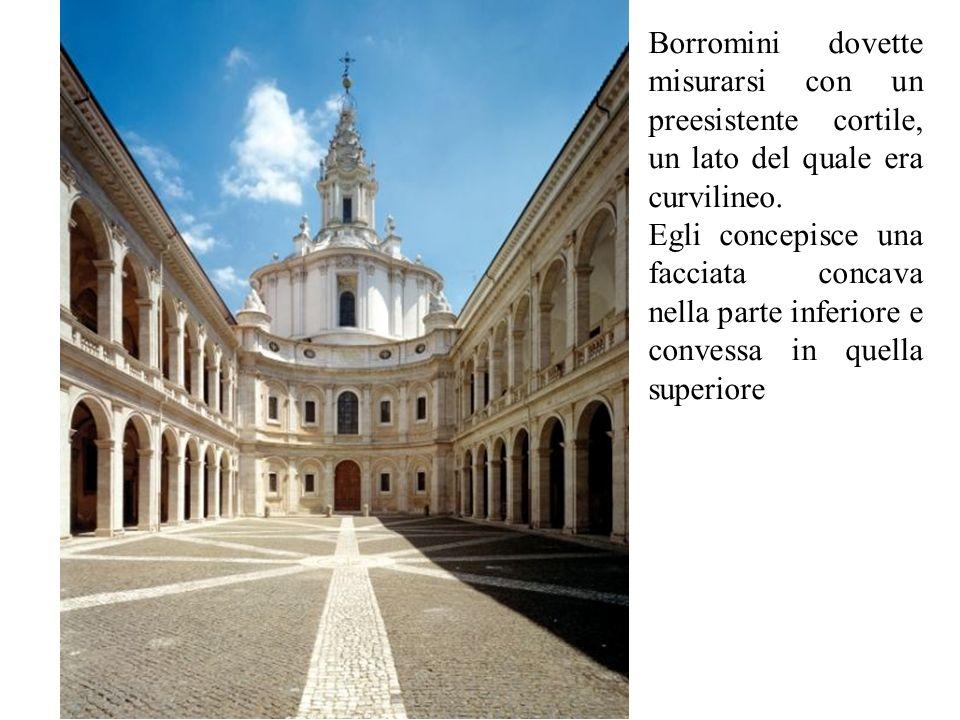 Borromini dovette misurarsi con un preesistente cortile, un lato del quale era curvilineo. Egli concepisce una facciata concava nella parte inferiore
