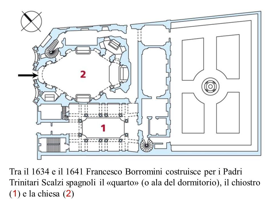 Tra il 1634 e il 1641 Francesco Borromini costruisce per i Padri Trinitari Scalzi spagnoli il «quarto» (o ala del dormitorio), il chiostro ( 1 ) e la