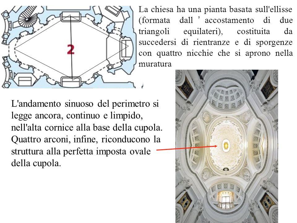 La chiesa ha una pianta basata sull'ellisse (formata dall ' accostamento di due triangoli equilateri), costituita da succedersi di rientranze e di spo