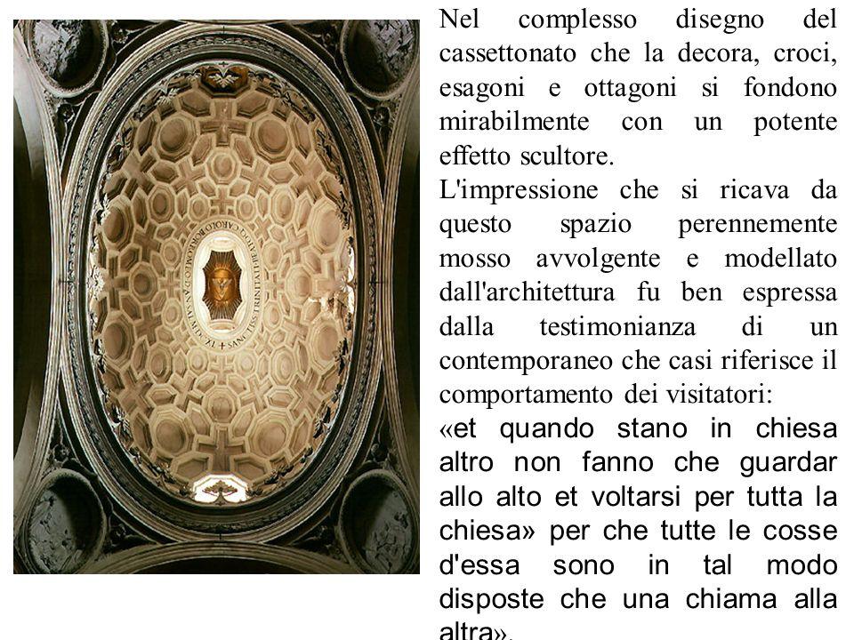 Nel progetto della chiesa di San Carlo di Borromini la pianta ellittica risulta da due triangoli equilateri con le basi sull ' asse trasversale e con i lati incurvati verso l ' interno, in maniera da determinare una concezione unitaria dello spazio che prevede contrazione ed espansione.