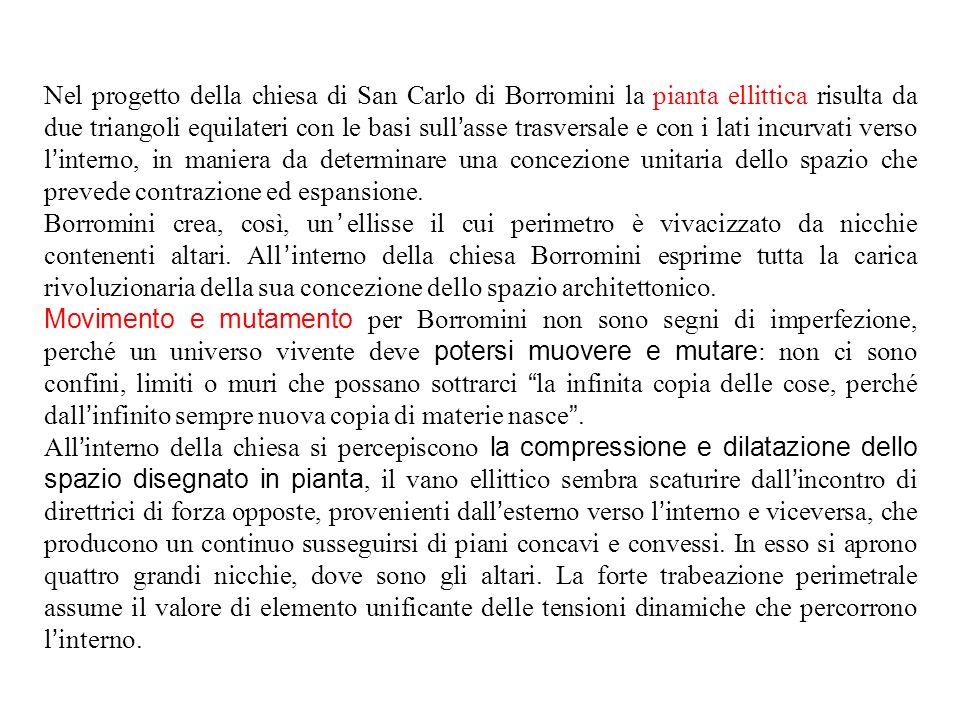 Nel progetto della chiesa di San Carlo di Borromini la pianta ellittica risulta da due triangoli equilateri con le basi sull ' asse trasversale e con