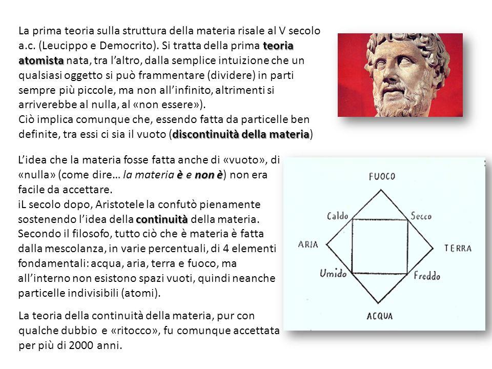 teoria atomista La prima teoria sulla struttura della materia risale al V secolo a.c. (Leucippo e Democrito). Si tratta della prima teoria atomista na
