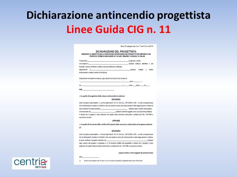 Dichiarazione antincendio progettista Linee Guida CIG n. 11