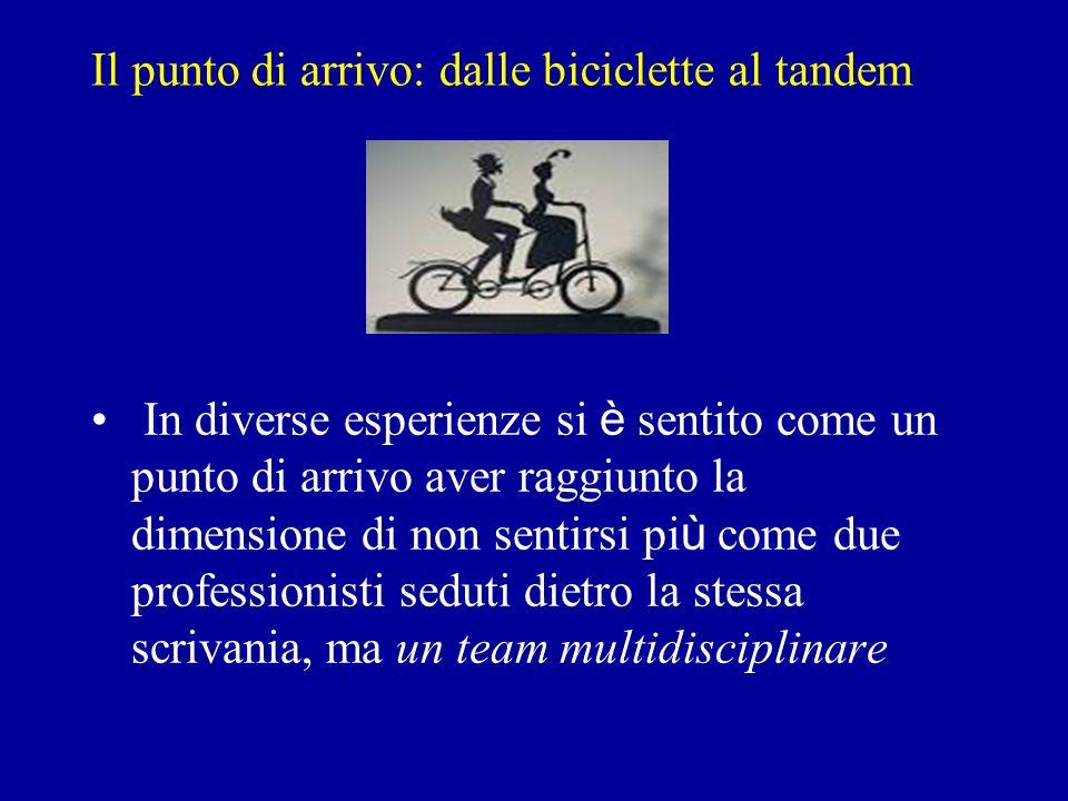 Il punto di arrivo: dalle biciclette al tandem In diverse esperienze si è sentito come un punto di arrivo aver raggiunto la dimensione di non sentirsi pi ù come due professionisti seduti dietro la stessa scrivania, ma un team multidisciplinare