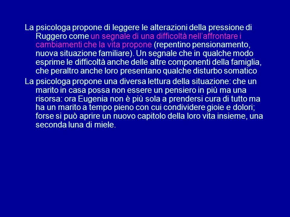 La psicologa propone di leggere le alterazioni della pressione di Ruggero come un segnale di una difficoltà nell'affrontare i cambiamenti che la vita propone (repentino pensionamento, nuova situazione familiare).