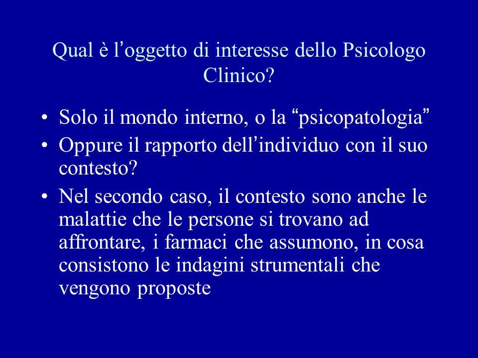 Qual è l ' oggetto di interesse dello Psicologo Clinico.