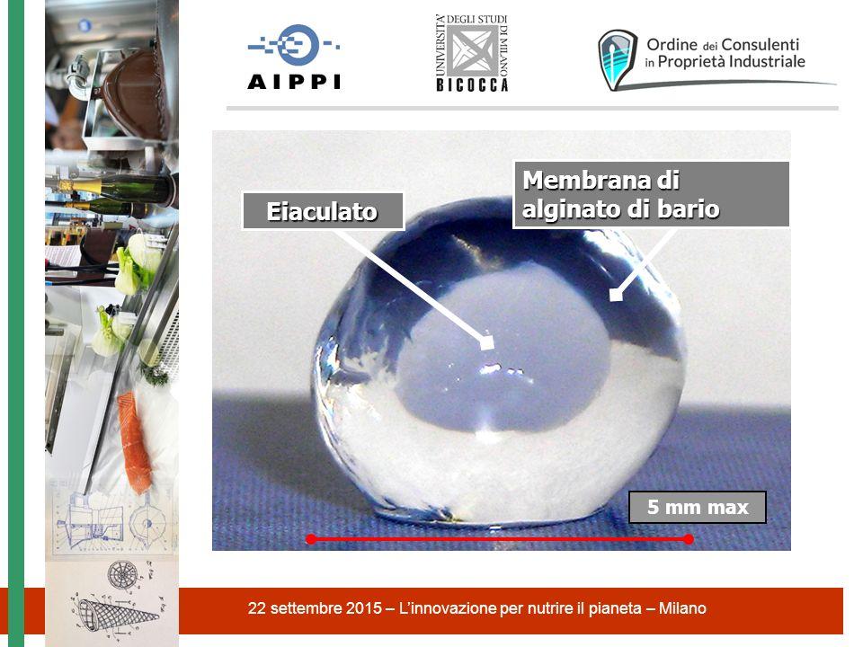22 settembre 2015 – L'innovazione per nutrire il pianeta – Milano 5 mm max Eiaculato Membrana di alginato di bario