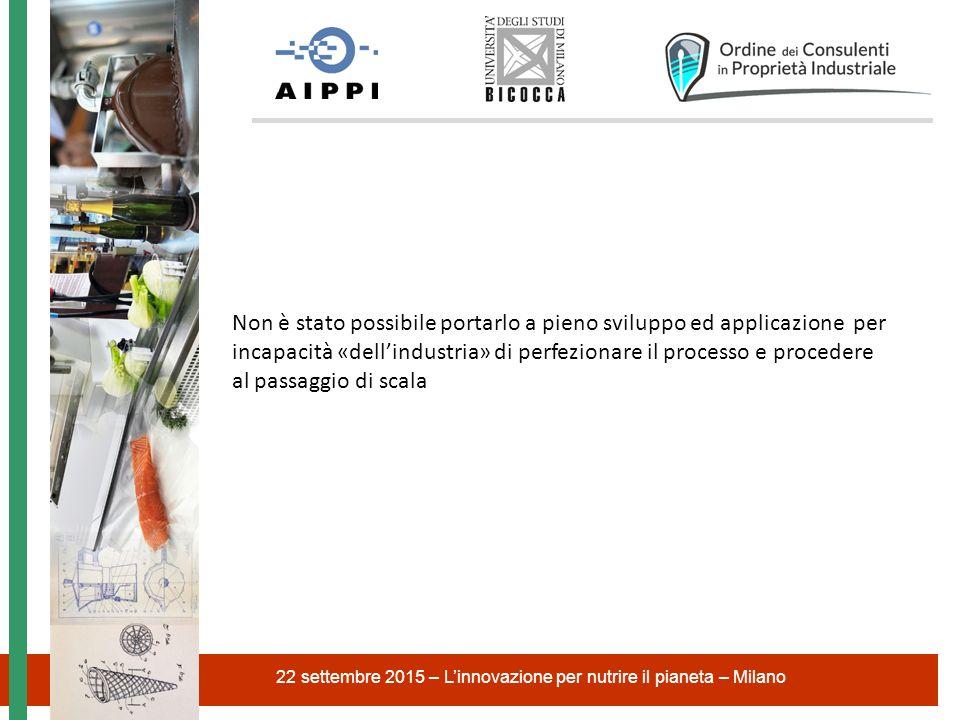 22 settembre 2015 – L'innovazione per nutrire il pianeta – Milano Non è stato possibile portarlo a pieno sviluppo ed applicazione per incapacità «dell