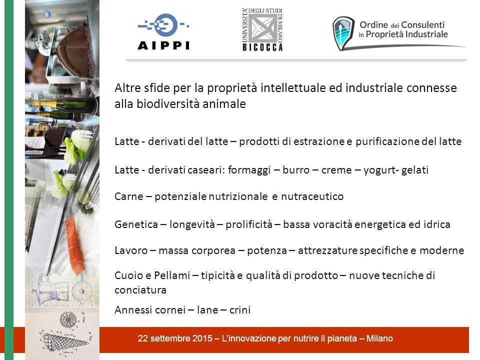22 settembre 2015 – L'innovazione per nutrire il pianeta – Milano Altre sfide per la proprietà intellettuale ed industriale connesse alla biodiversità