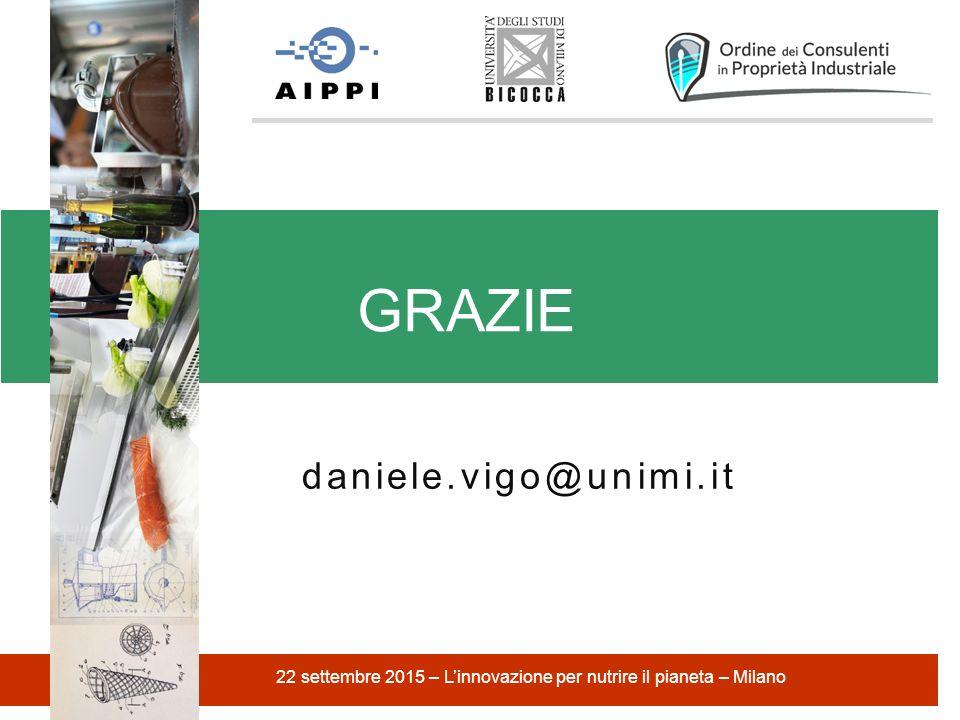 daniele.vigo@unimi.it GRAZIE 22 settembre 2015 – L'innovazione per nutrire il pianeta – Milano