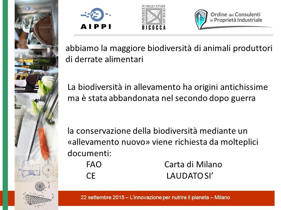 22 settembre 2015 – L'innovazione per nutrire il pianeta – Milano abbiamo la maggiore biodiversità di animali produttori di derrate alimentari la cons