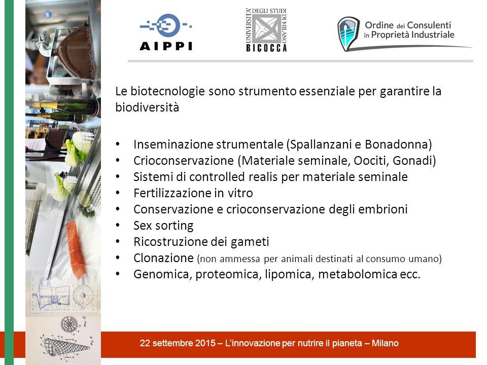 22 settembre 2015 – L'innovazione per nutrire il pianeta – Milano Le biotecnologie sono strumento essenziale per garantire la biodiversità Inseminazio