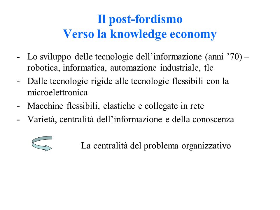 Il post-fordismo Verso la knowledge economy -Lo sviluppo delle tecnologie dell'informazione (anni '70) – robotica, informatica, automazione industriale, tlc -Dalle tecnologie rigide alle tecnologie flessibili con la microelettronica -Macchine flessibili, elastiche e collegate in rete -Varietà, centralità dell'informazione e della conoscenza La centralità del problema organizzativo