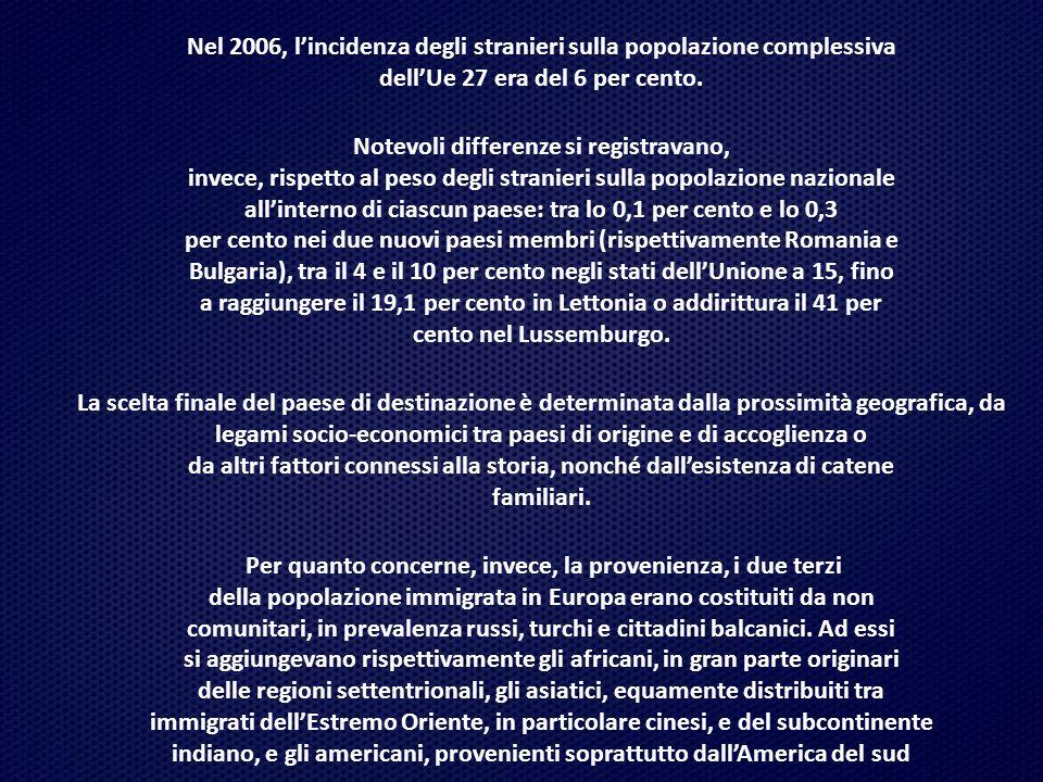 Nel 2006, l'incidenza degli stranieri sulla popolazione complessiva dell'Ue 27 era del 6 per cento. Notevoli differenze si registravano, invece, rispe