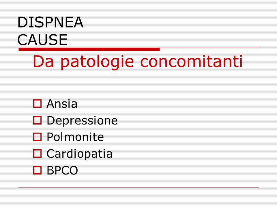 DISPNEA CAUSE Da patologie concomitanti  Ansia  Depressione  Polmonite  Cardiopatia  BPCO