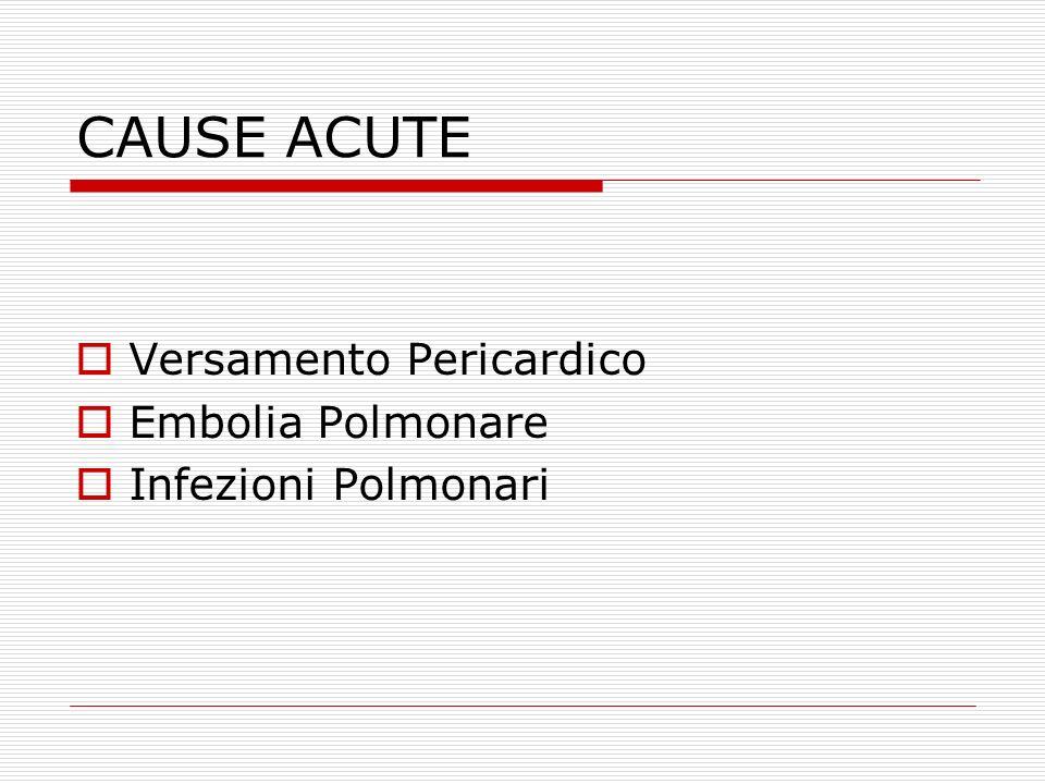 CAUSE ACUTE  Versamento Pericardico  Embolia Polmonare  Infezioni Polmonari
