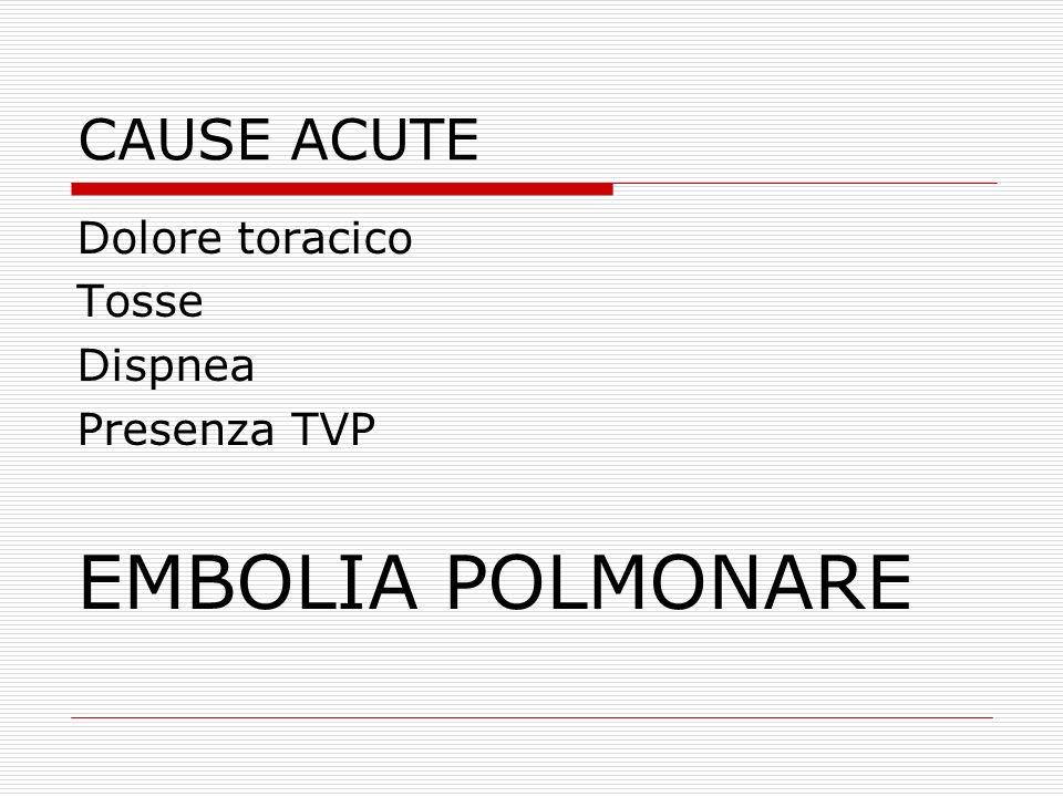 CAUSE ACUTE Dolore toracico Tosse Dispnea Presenza TVP EMBOLIA POLMONARE
