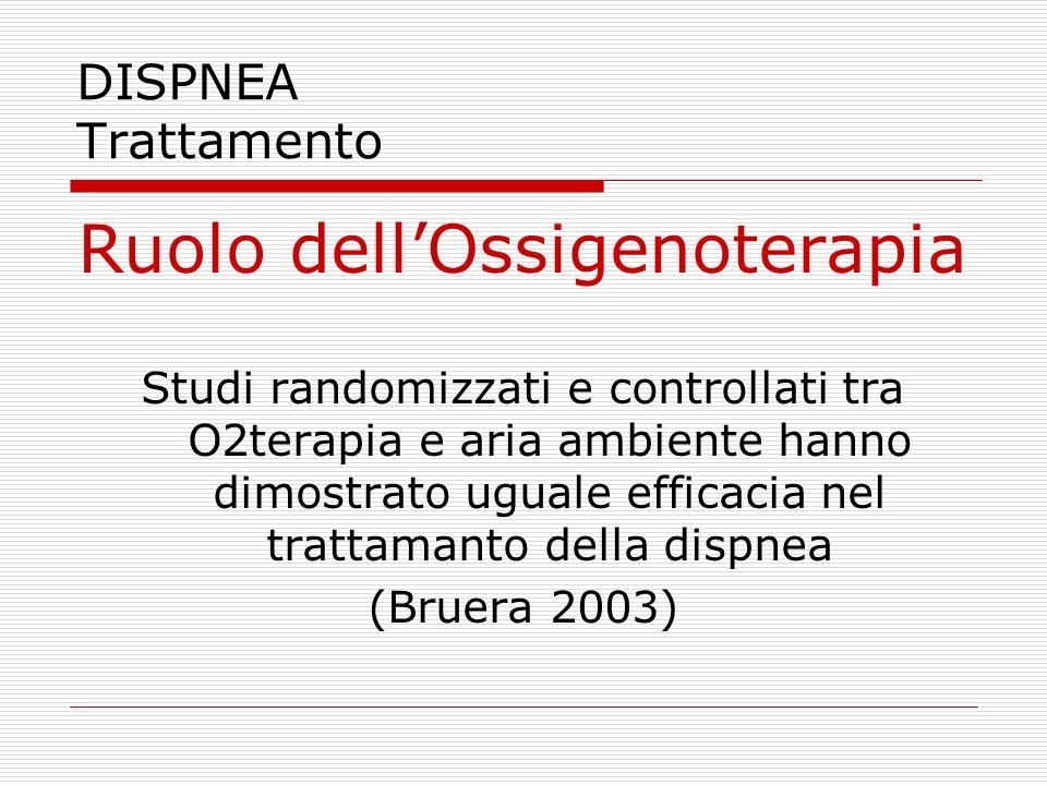 DISPNEA Trattamento Ruolo dell'Ossigenoterapia Studi randomizzati e controllati tra O2terapia e aria ambiente hanno dimostrato uguale efficacia nel tr