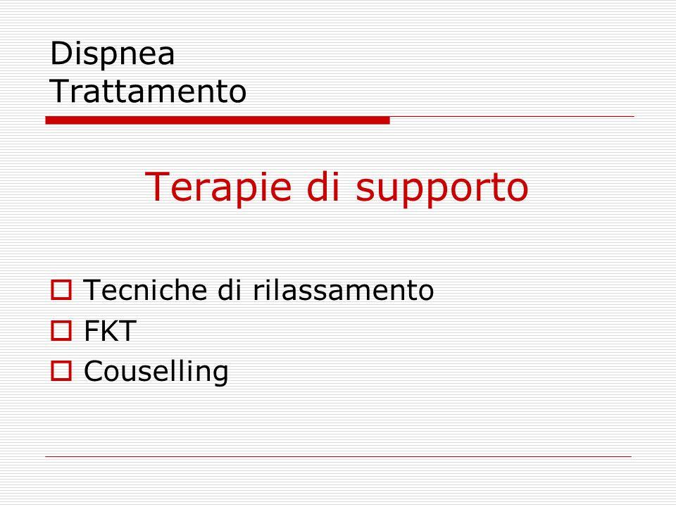 Dispnea Trattamento Terapie di supporto  Tecniche di rilassamento  FKT  Couselling