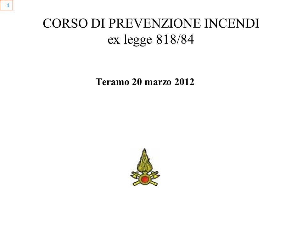 1 CORSO DI PREVENZIONE INCENDI ex legge 818/84 Teramo 20 marzo 2012