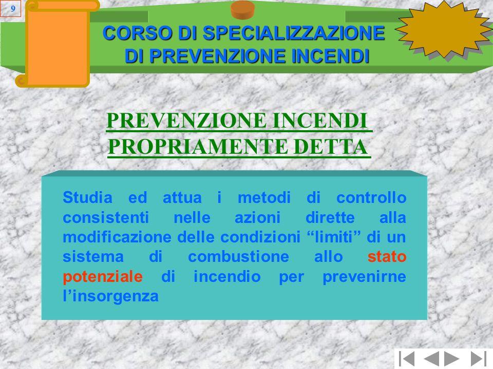 8 Prevenzione propriamente detta Protezione CORSO DI SPECIALIZZAZIONE DI PREVENZIONE INCENDI