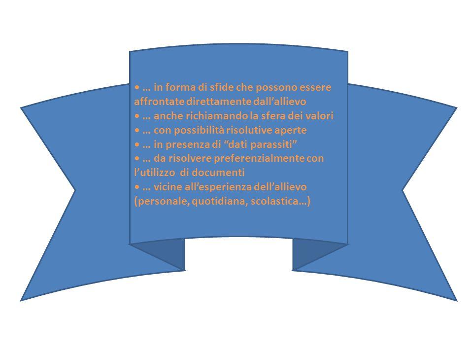 … in forma di sfide che possono essere affrontate direttamente dall'allievo … anche richiamando la sfera dei valori … con possibilità risolutive apert