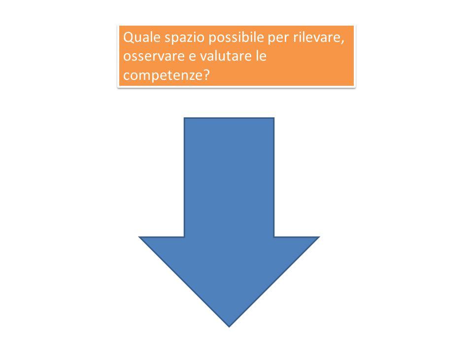 Quale spazio possibile per rilevare, osservare e valutare le competenze?