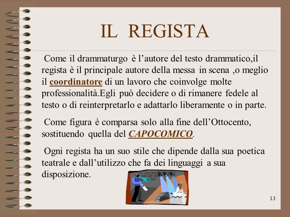 IL REGISTA Come il drammaturgo è l'autore del testo drammatico,il regista è il principale autore della messa in scena,o meglio il coordinatore di un l