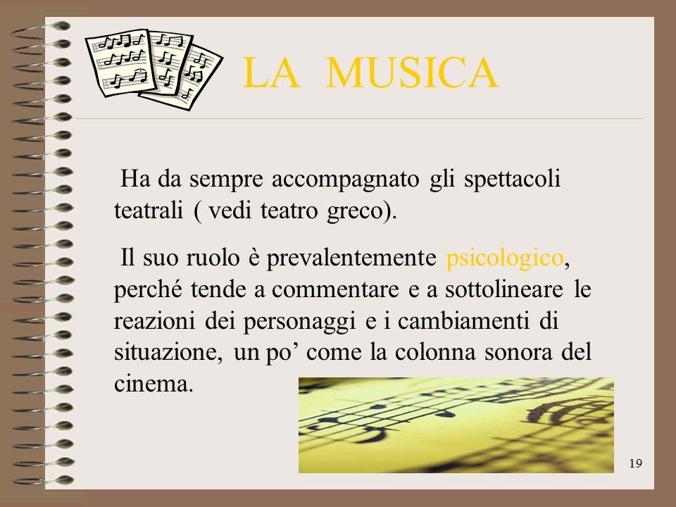 LA MUSICA Ha da sempre accompagnato gli spettacoli teatrali ( vedi teatro greco). Il suo ruolo è prevalentemente psicologico, perché tende a commentar