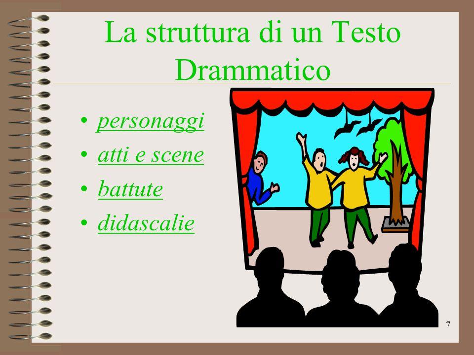 La struttura di un Testo Drammatico personaggi atti e scene battute didascalie 7