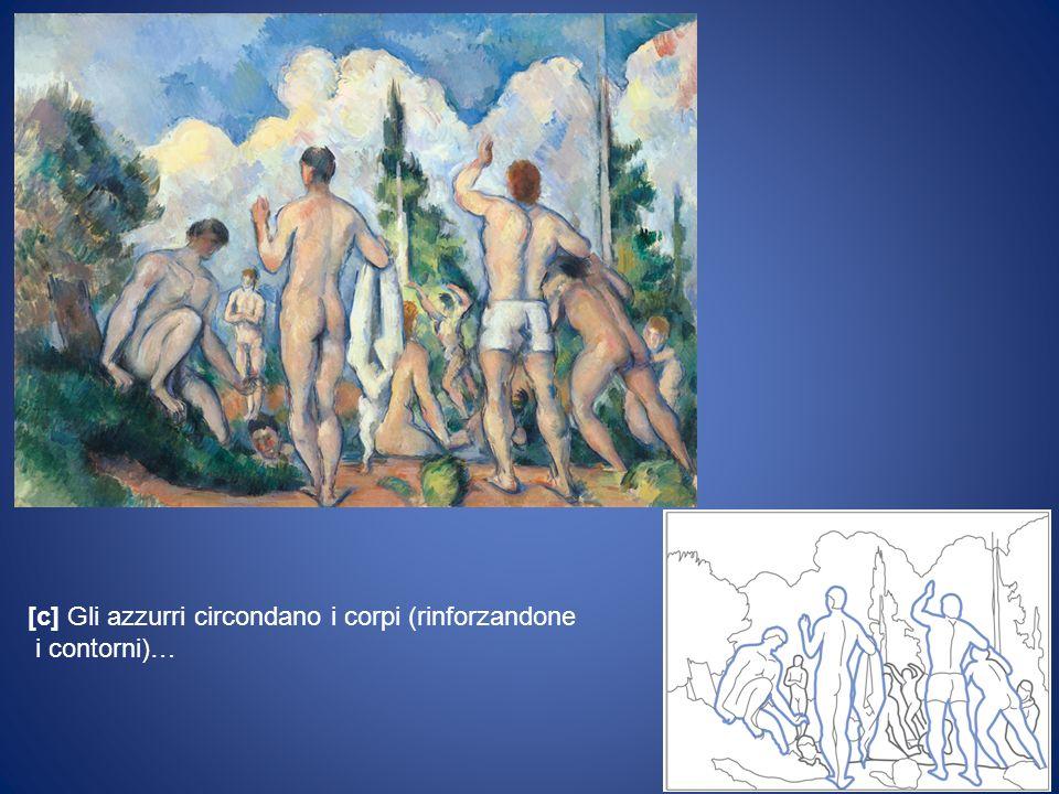 [c] Gli azzurri circondano i corpi (rinforzandone i contorni)…