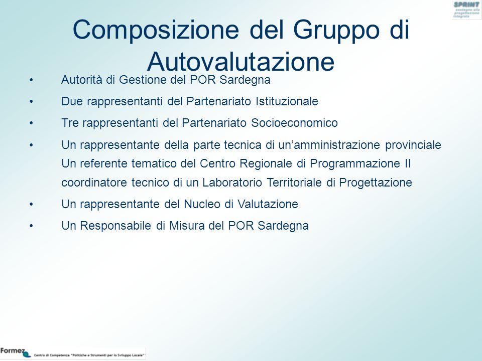 Composizione del Gruppo di Autovalutazione Autorità di Gestione del POR Sardegna Due rappresentanti del Partenariato Istituzionale Tre rappresentanti