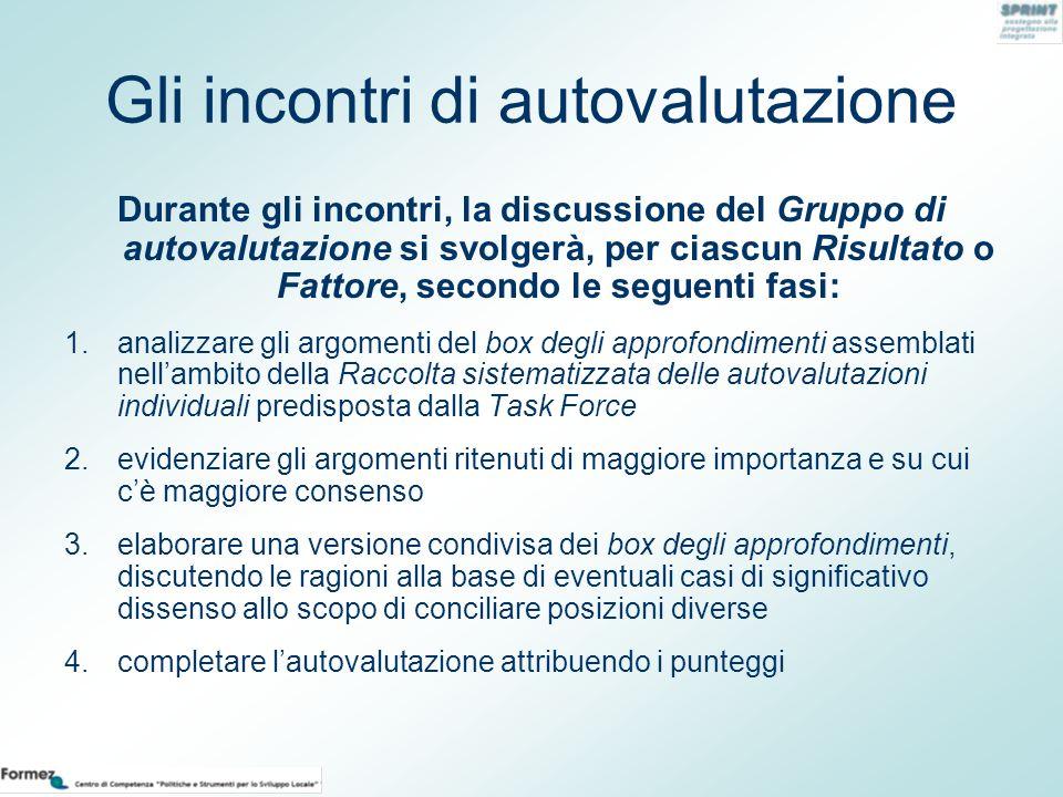 Gli incontri di autovalutazione Durante gli incontri, la discussione del Gruppo di autovalutazione si svolgerà, per ciascun Risultato o Fattore, secon