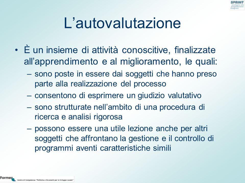 L'autovalutazione È un insieme di attività conoscitive, finalizzate all'apprendimento e al miglioramento, le quali: –sono poste in essere dai soggetti