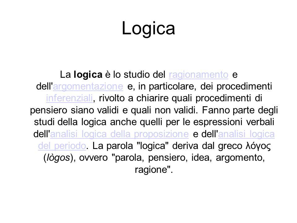 Logica La logica è lo studio del ragionamento e dell argomentazione e, in particolare, dei procedimenti inferenziali, rivolto a chiarire quali procedimenti di pensiero siano validi e quali non validi.