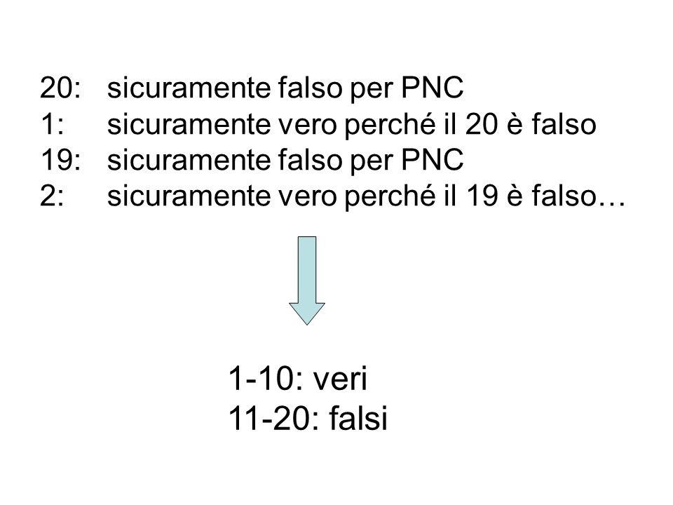 20:sicuramente falso per PNC 1:sicuramente vero perché il 20 è falso 19:sicuramente falso per PNC 2:sicuramente vero perché il 19 è falso… 1-10: veri 11-20: falsi