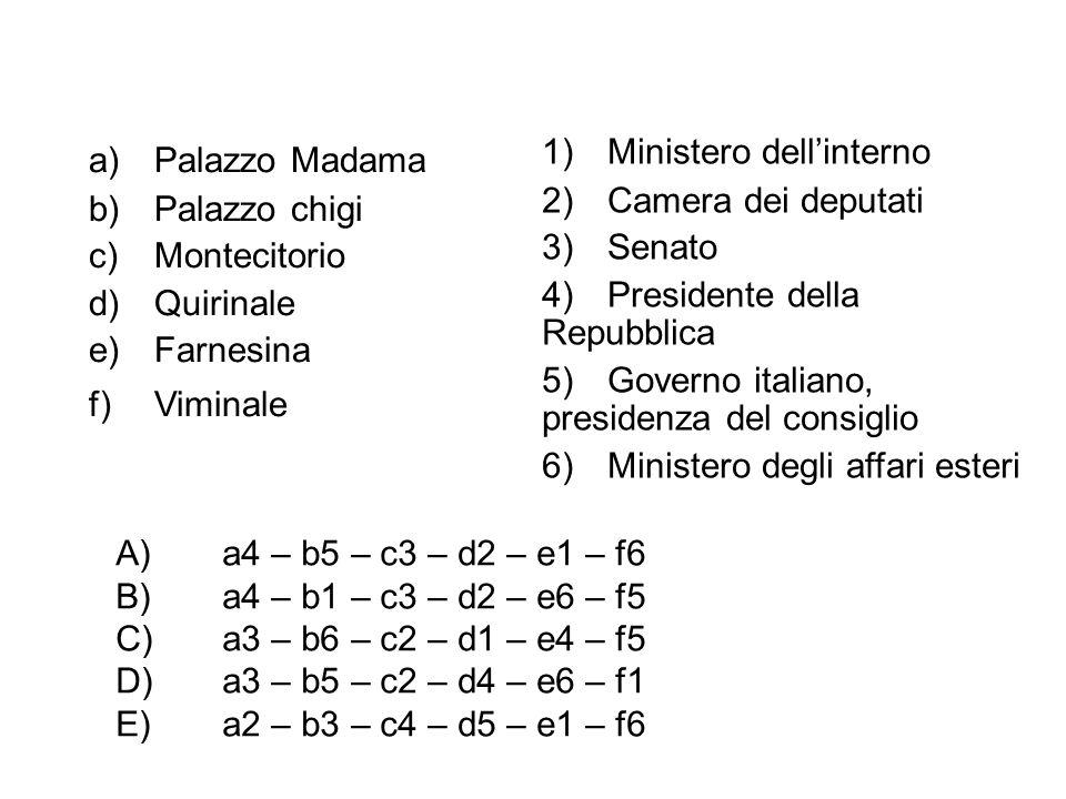 a)Palazzo Madama b)Palazzo chigi c)Montecitorio d)Quirinale e)Farnesina f)Viminale 1)Ministero dell'interno 2)Camera dei deputati 3)Senato 4)Presidente della Repubblica 5)Governo italiano, presidenza del consiglio 6)Ministero degli affari esteri A)a4 – b5 – c3 – d2 – e1 – f6 B)a4 – b1 – c3 – d2 – e6 – f5 C)a3 – b6 – c2 – d1 – e4 – f5 D)a3 – b5 – c2 – d4 – e6 – f1 E)a2 – b3 – c4 – d5 – e1 – f6