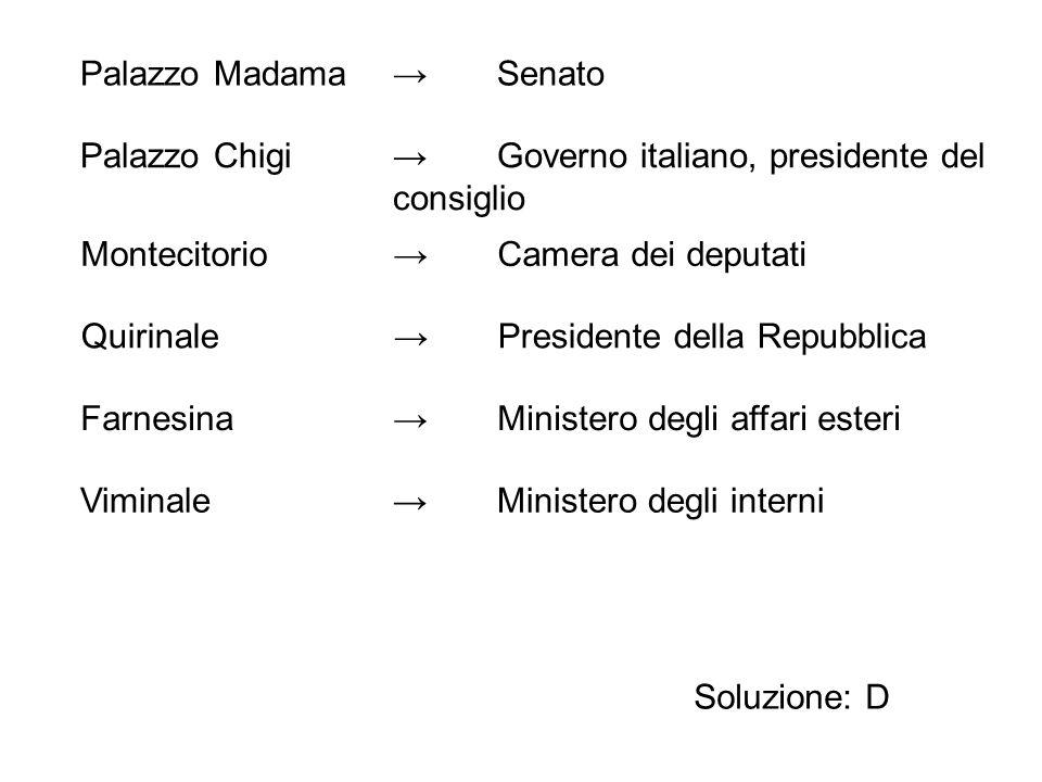 Soluzione: D Palazzo Madama→Senato Palazzo Chigi →Governo italiano, presidente del consiglio Montecitorio→Camera dei deputati Quirinale→Presidente del